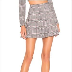 X NAVEN CHARLIE SKIRT IN GRAY PINK PLAID NBD